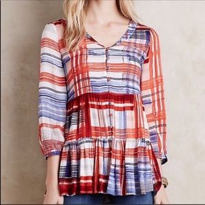 Maeve Anthropologie Lila Red Blue Plaid Blouse